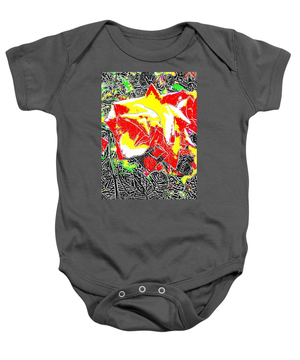 Rose Baby Onesie featuring the digital art A Rose Is by Tim Allen