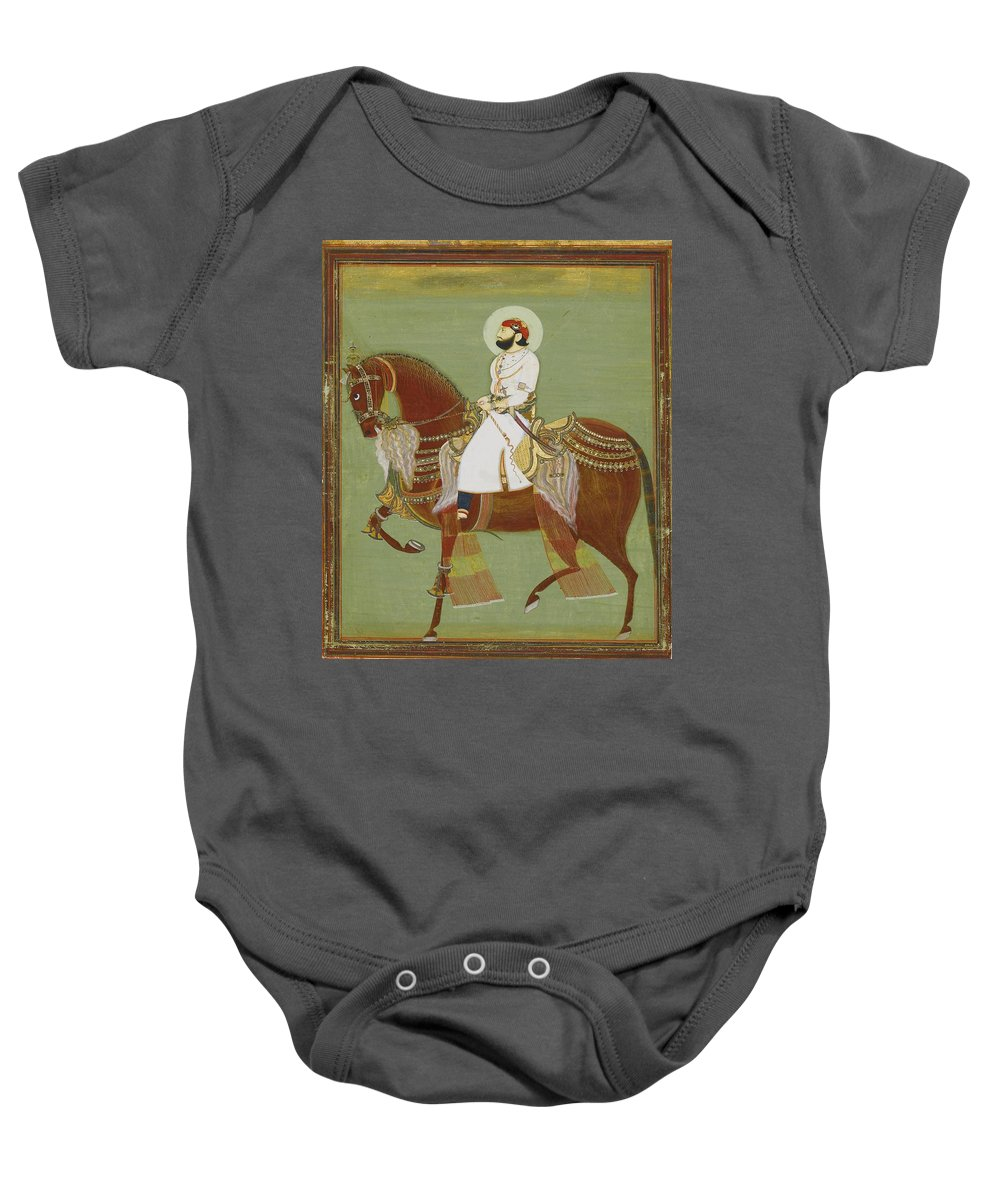 A Ruler On Horseback Baby Onesie featuring the painting A Ruler On Horseback by Alwar