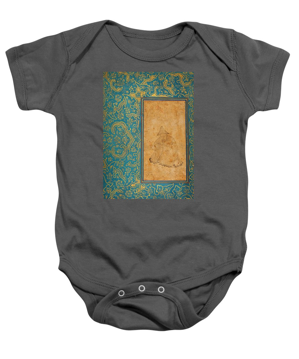 A Seated Dervish In A Landscape Baby Onesie featuring the painting A Seated Dervish In A Landscape by Eastern Accents