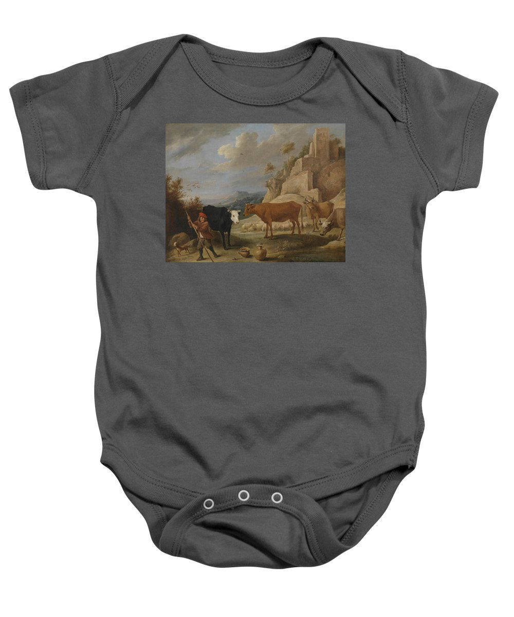 17th Century Art Baby Onesie featuring the painting A Shepherd With His Flock In A Landscape With Ruins by David Teniers the Younger