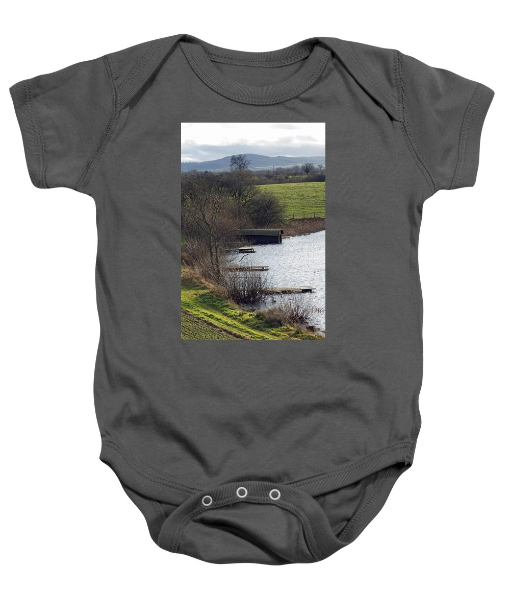 Shropshire Baby Onesie featuring the photograph A Shropshire Mere by Bob Kemp