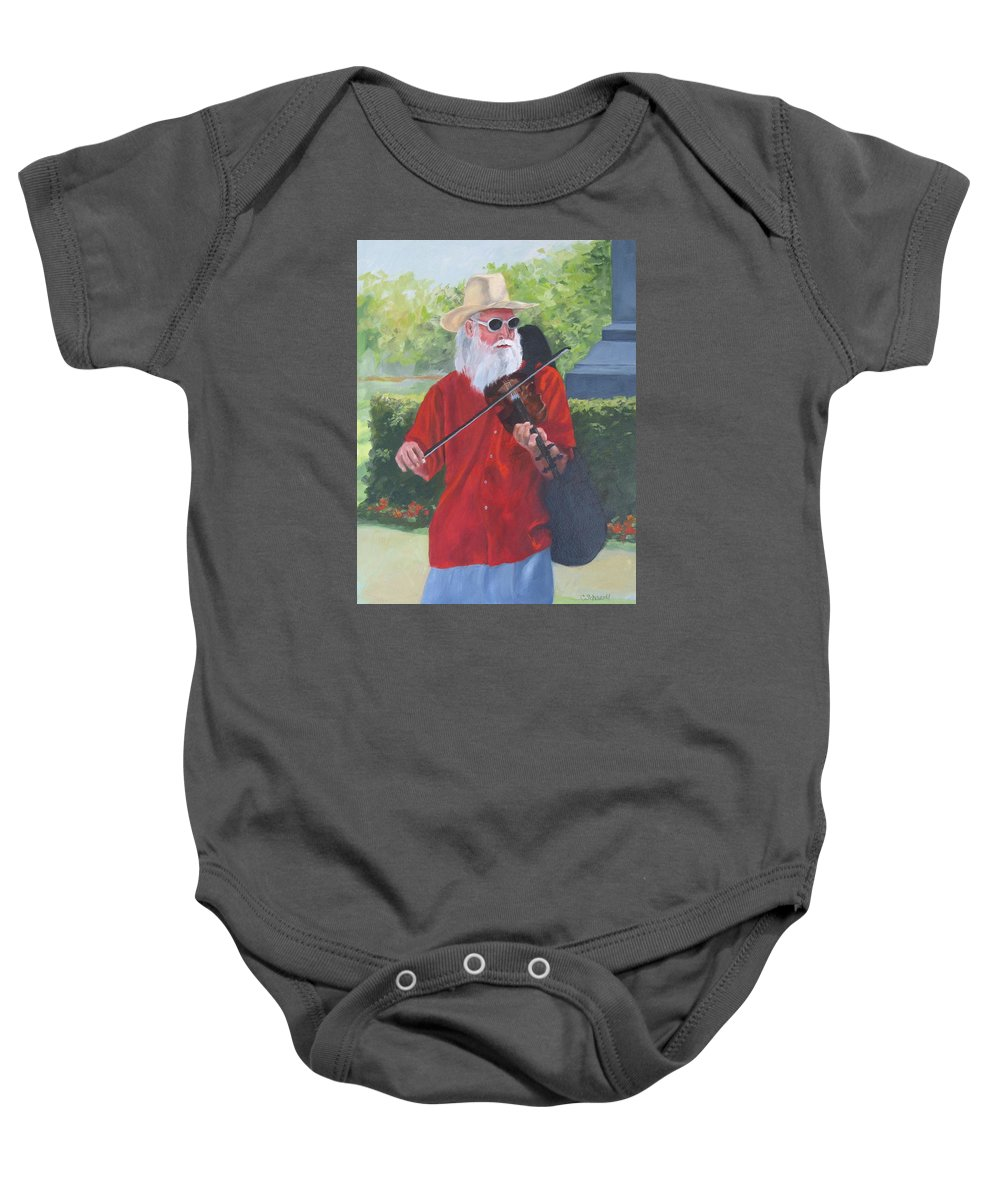 Slim Baby Onesie featuring the painting A Slim Fiddler For Peace by Connie Schaertl