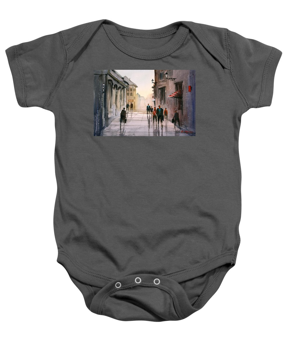 Cityscape Baby Onesie featuring the painting A Stroll In Italy by Ryan Radke