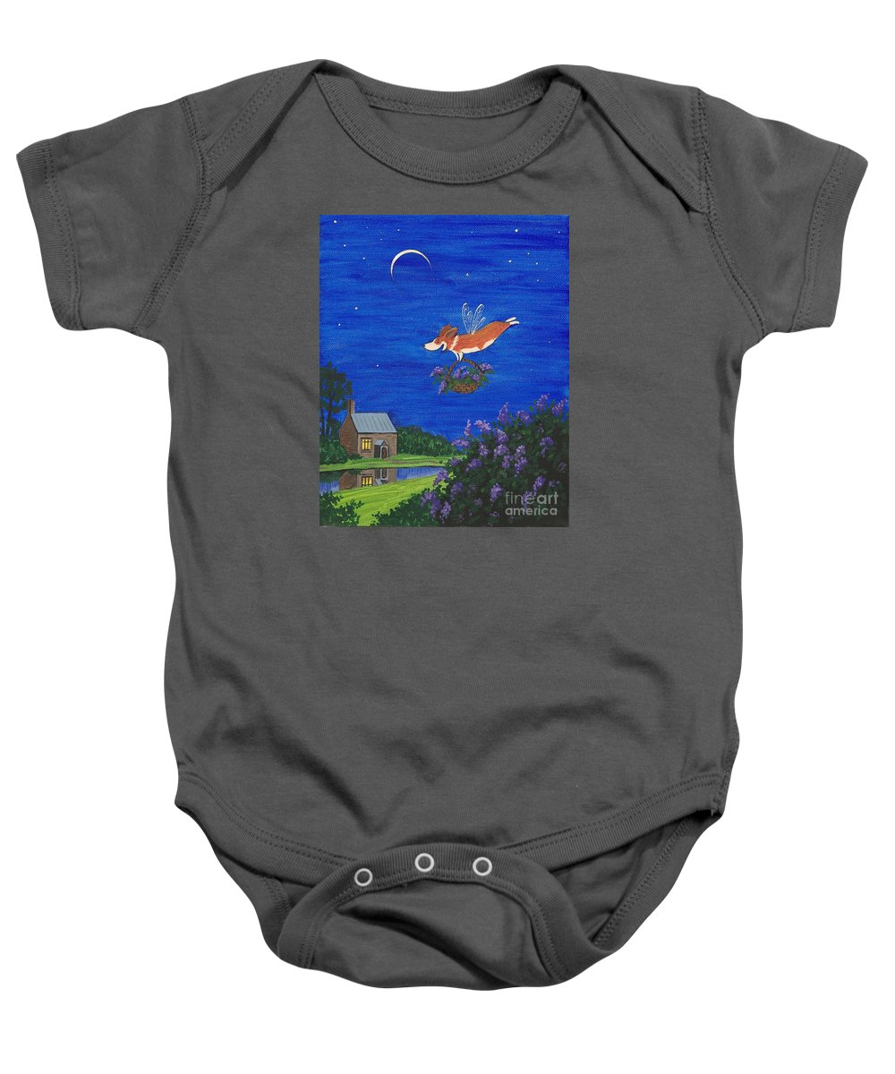 Print Baby Onesie featuring the painting A Surprise For Morning by Margaryta Yermolayeva