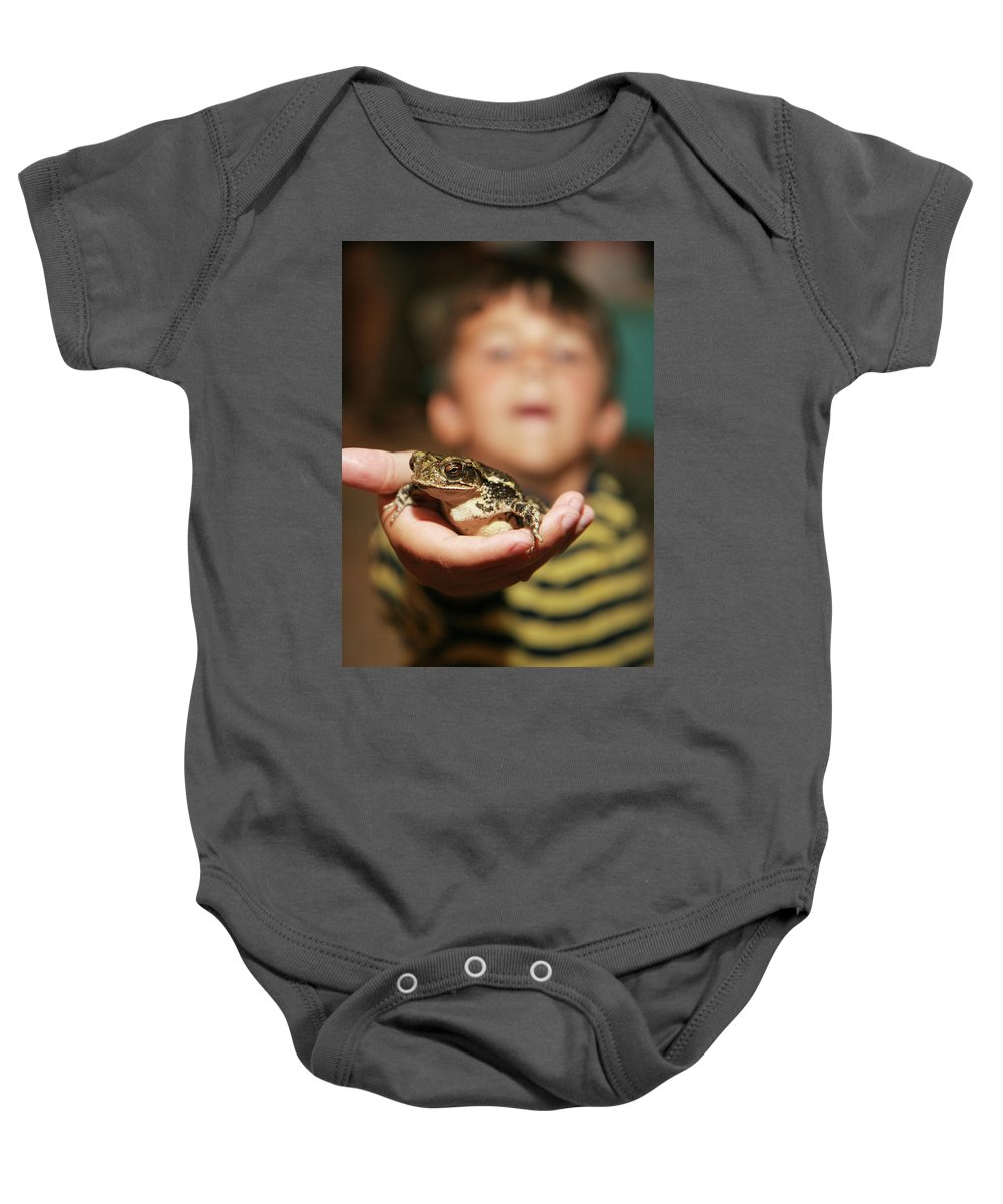 Baby Onesie featuring the photograph A Toad For You by Angie Covey