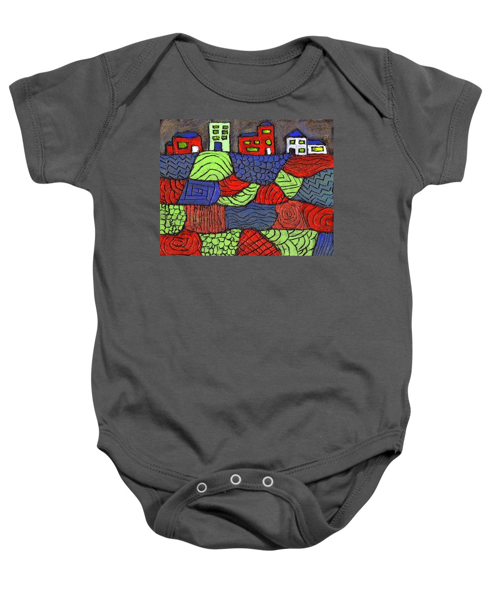 Whimsical Baby Onesie featuring the painting A Very Colorful Neighborhood by Wayne Potrafka