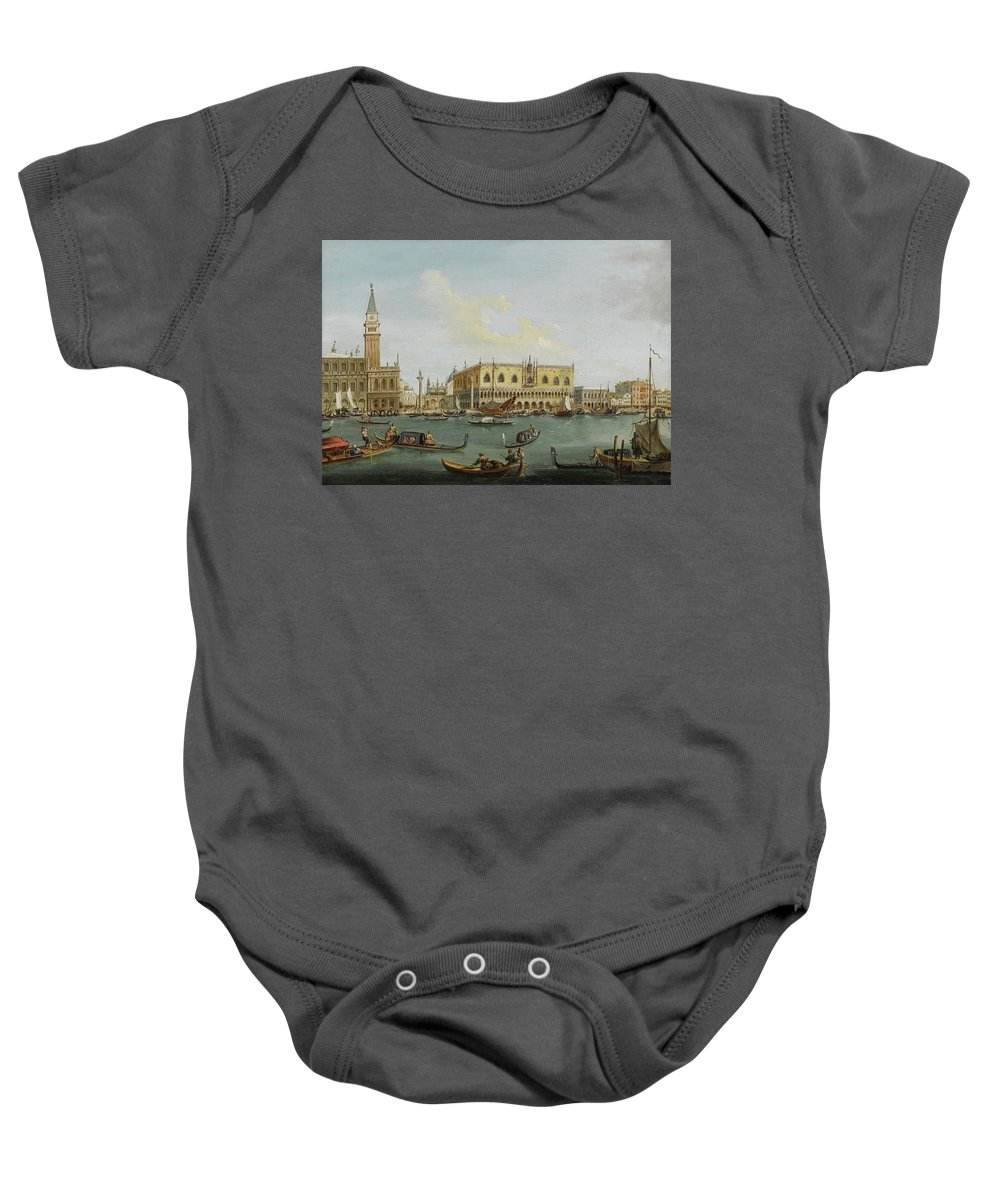 Venetian School Baby Onesie featuring the painting A View Of The Bacino Di San Marco by MotionAge Designs