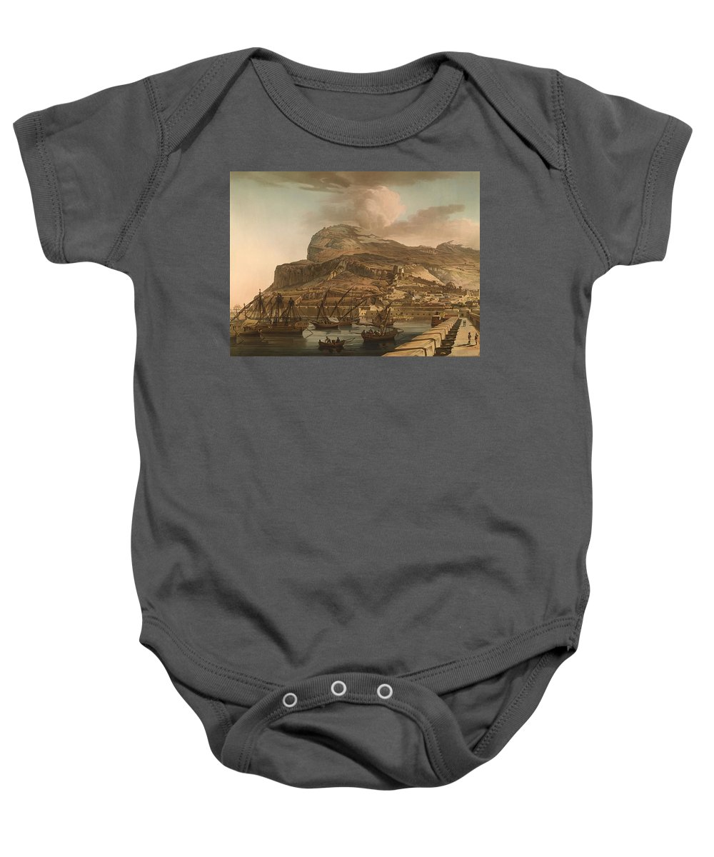 Painting Baby Onesie featuring the painting A View Of The Rock Of Gibraltar From The Spanish Lines 1782 by Mountain Dreams