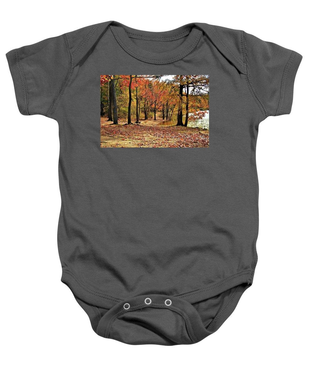 Autumn Baby Onesie featuring the photograph A Walk Through Autumn by John Lewis