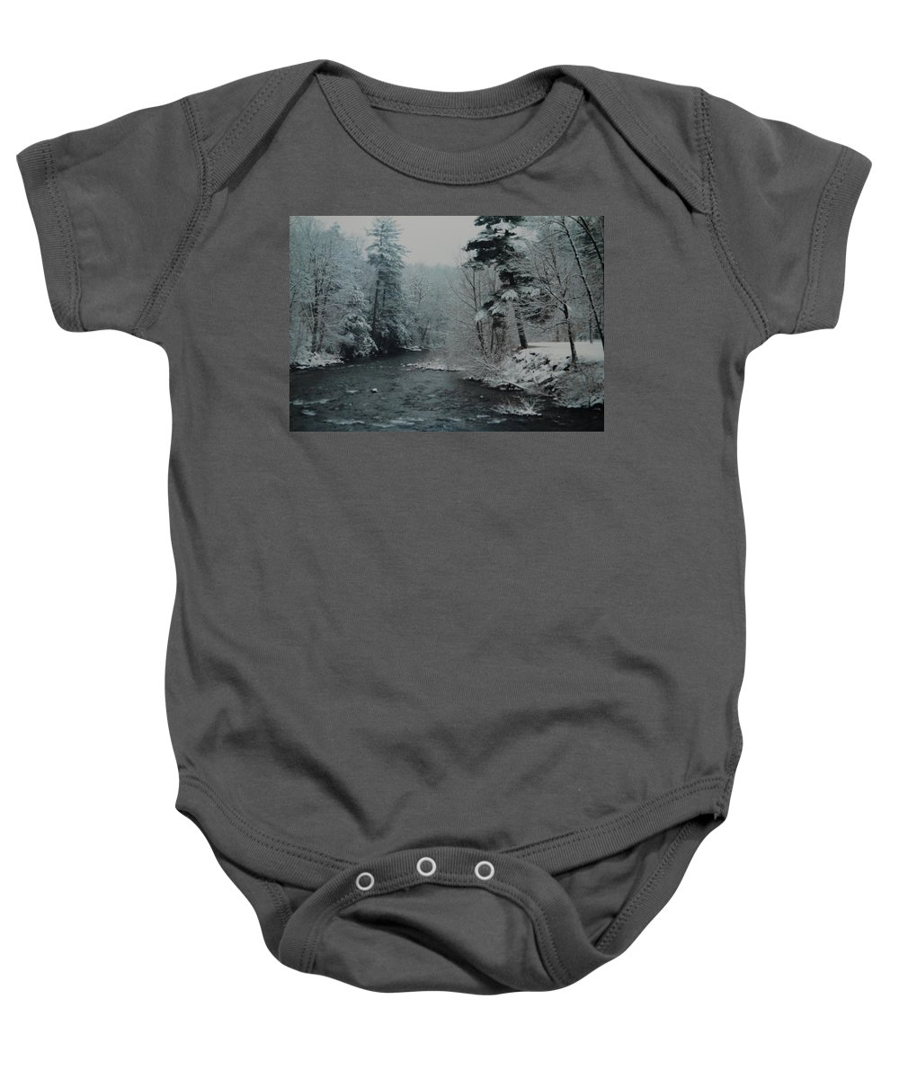 B&w Baby Onesie featuring the photograph A Winter Waterland by Rob Hans