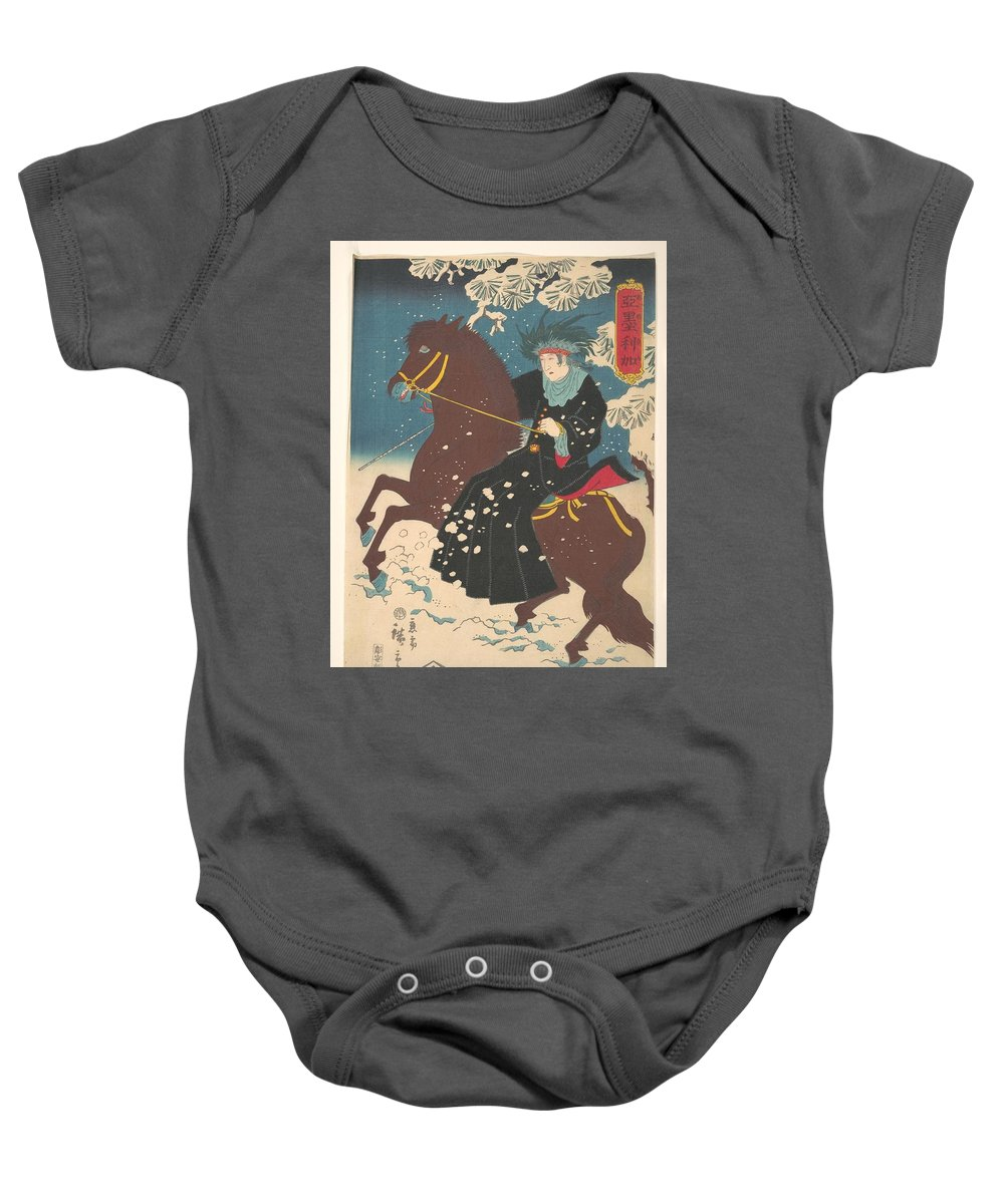 America; A Woman On Horseback In The Snow Baby Onesie featuring the painting A Woman On Horseback In The Snow by Eastern Accents