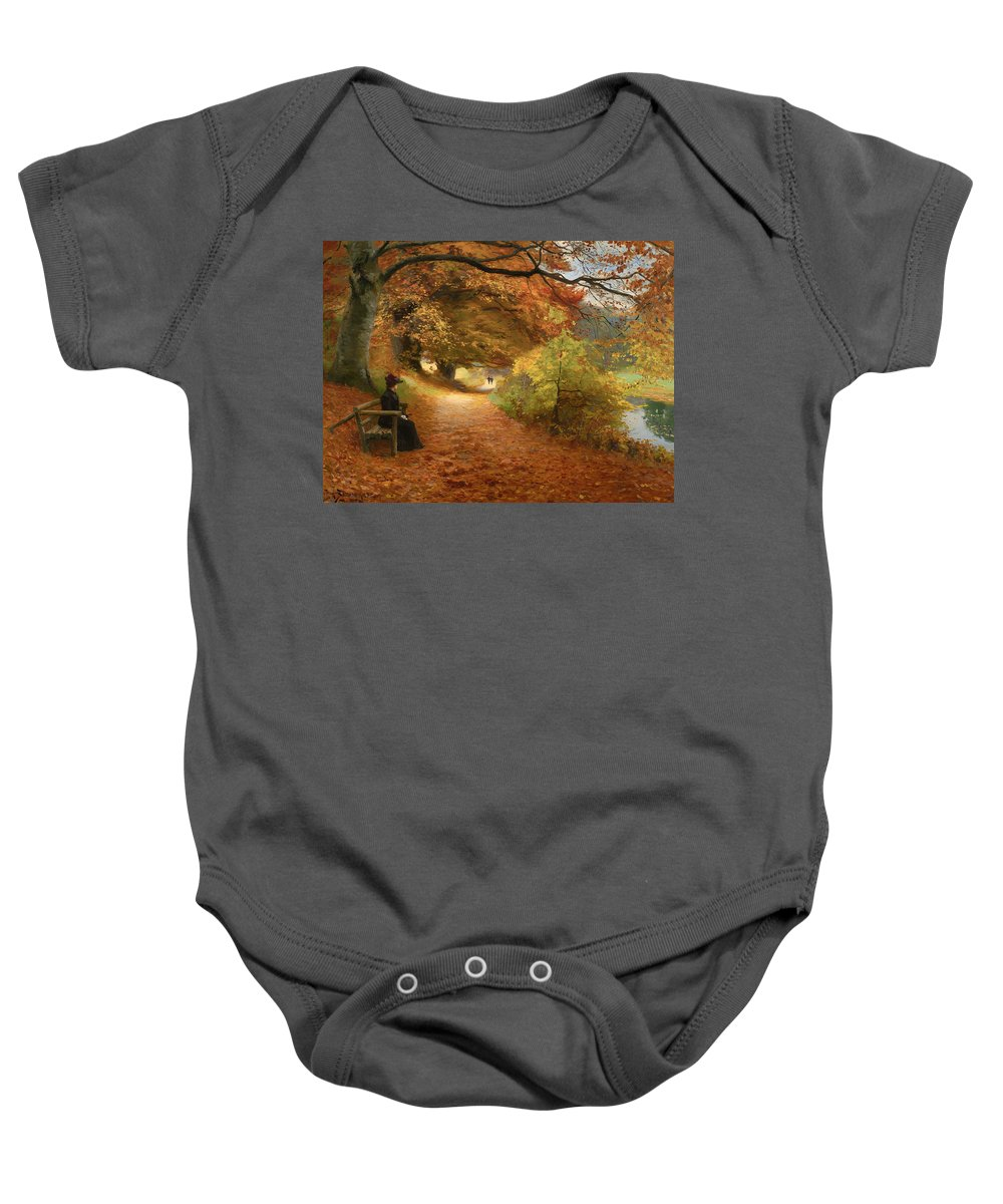 Painting Baby Onesie featuring the painting A Wooded Path In Autumn by Mountain Dreams