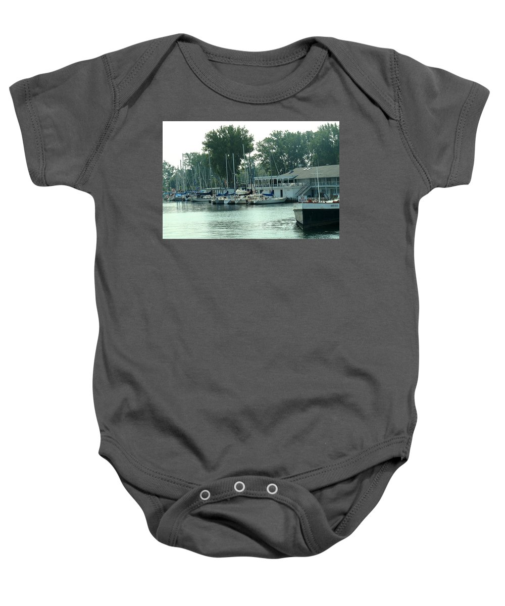 Toronto Baby Onesie featuring the photograph A Yacht Club by Ian MacDonald