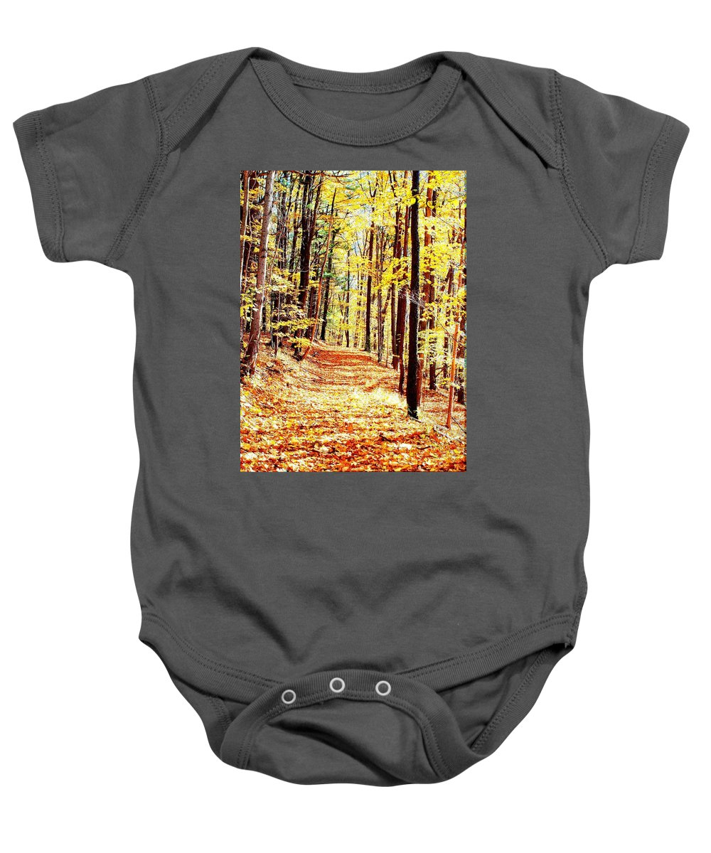 Autumn Baby Onesie featuring the photograph A Yellow Wood by Joshua House