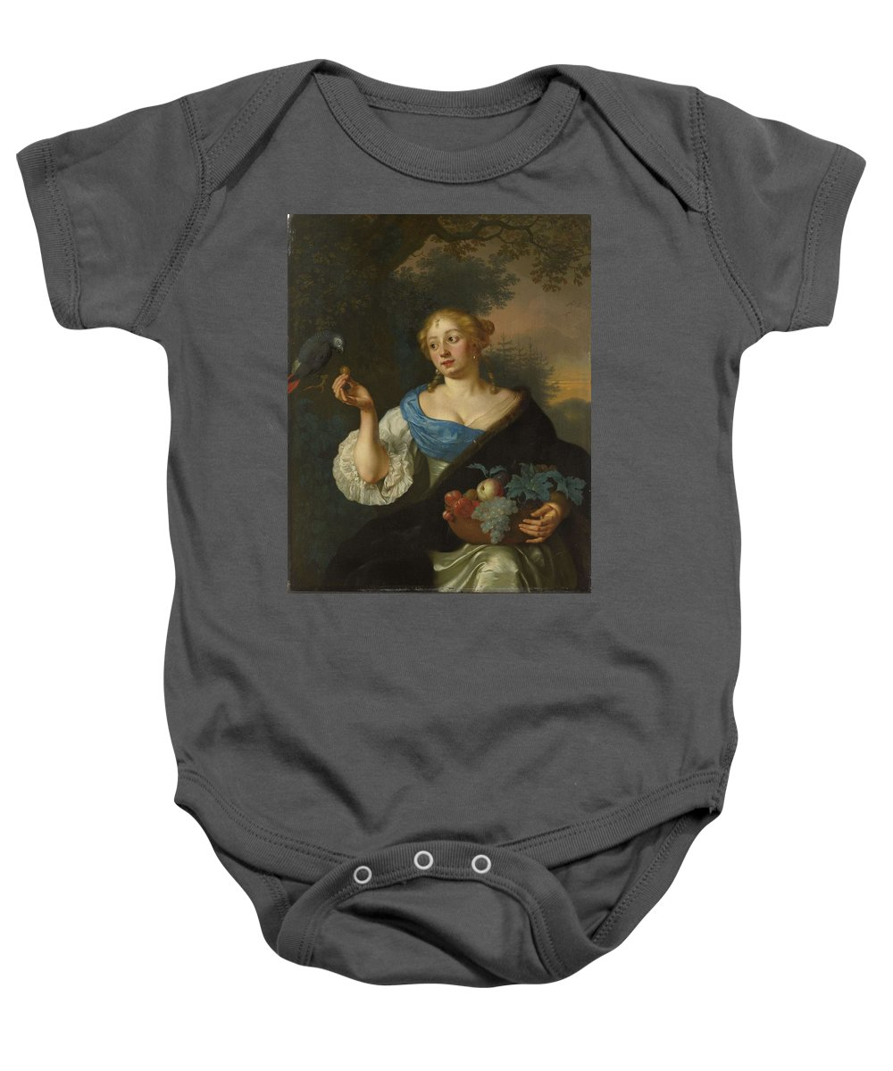 Girl Baby Onesie featuring the painting A Young Woman With A Parrot, Ary De Vois, 1660 - 1680 by Ary de Vois