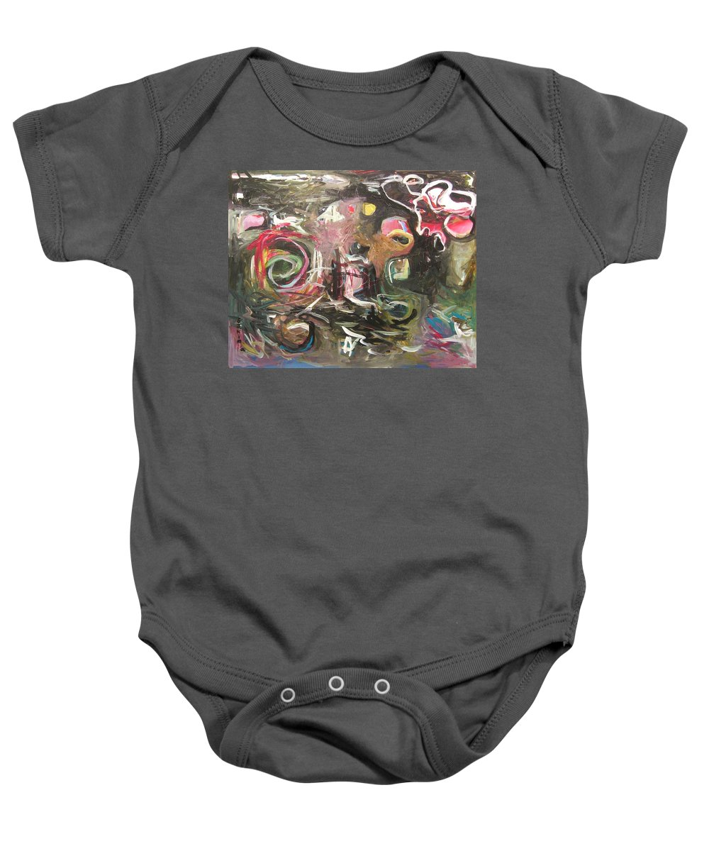 Abstract Paintings Baby Onesie featuring the painting Abandoned Idea2 by Seon-Jeong Kim