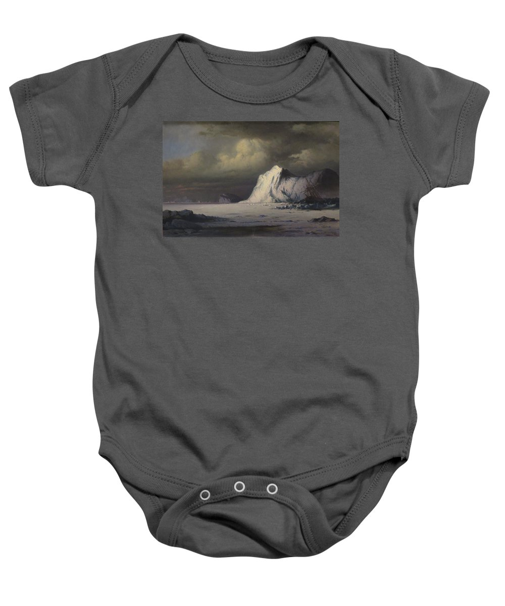 William Bradford - 'abandoned In The Arctic Ice Fields' Baby Onesie featuring the painting Abandoned In The Arctic Ice Fields by William Bradford
