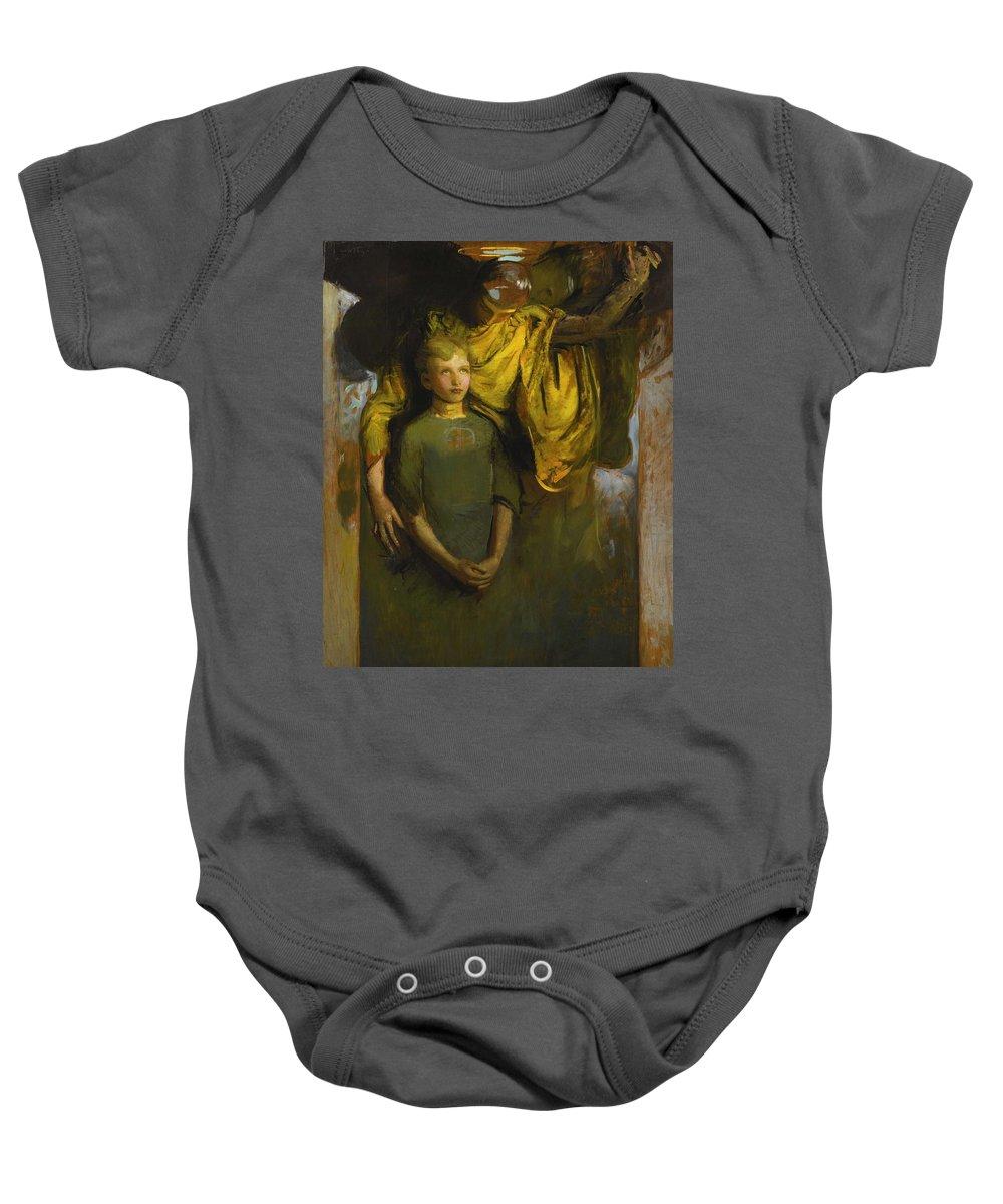 Girl Baby Onesie featuring the painting Abbott Handerson Thayer 1849 - 1921 Boy And Angel by Abbott Handerson Thayer
