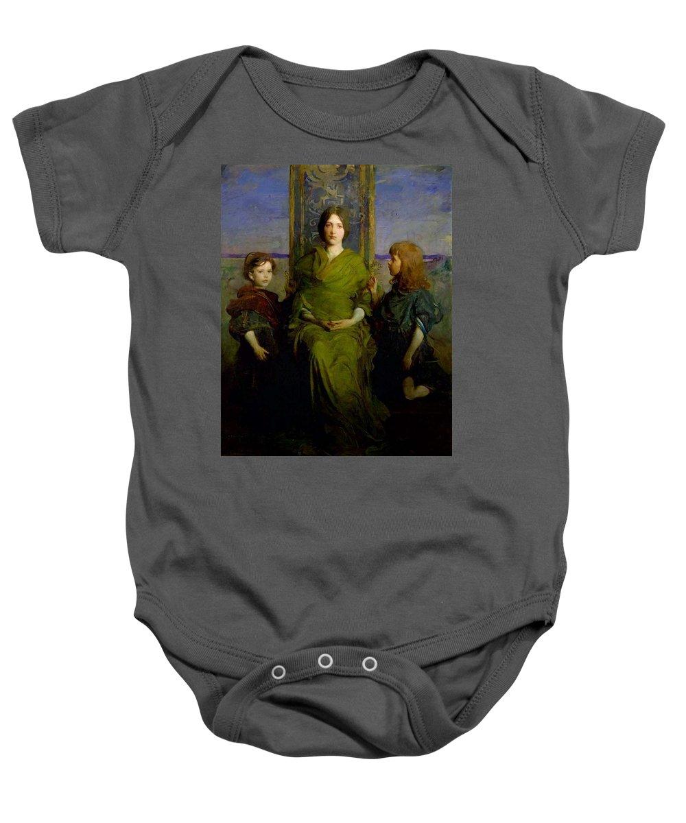 Girl Baby Onesie featuring the painting Abbott Handerson Thayer - Mother And Children by Abbott Handerson Thayer
