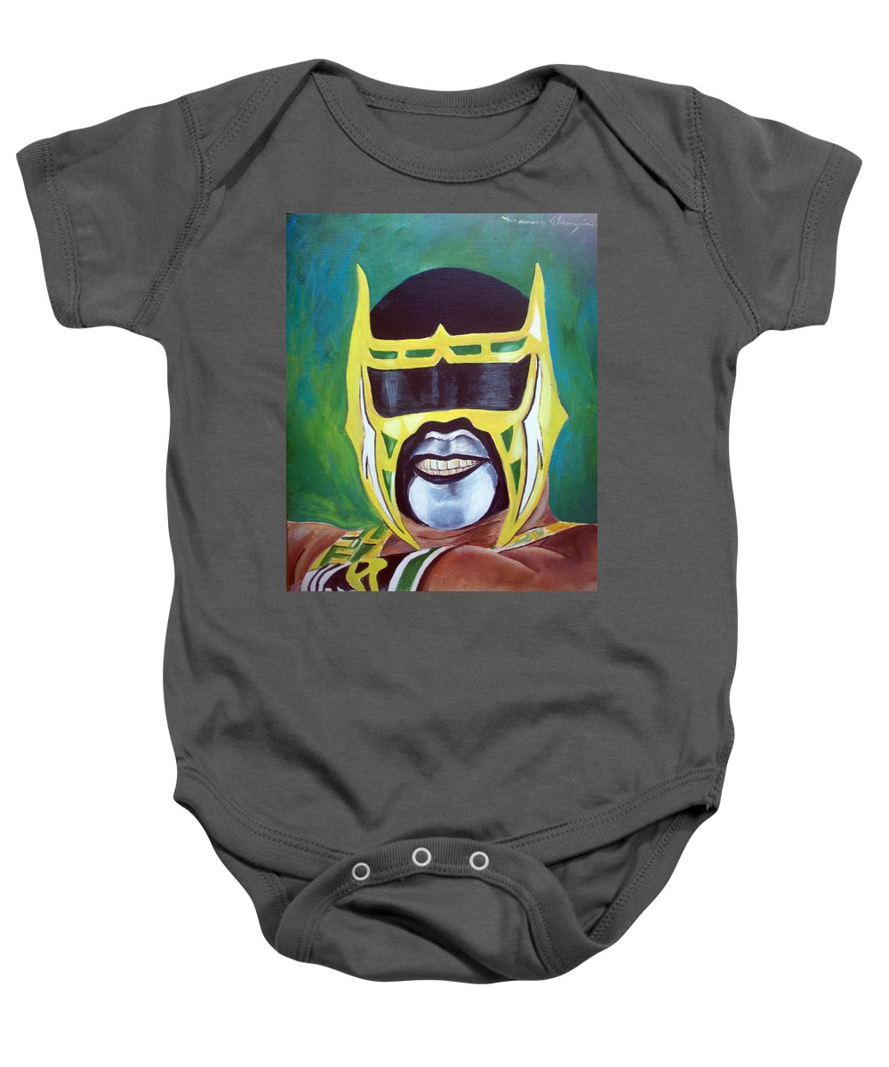 Wrestler Baby Onesie featuring the painting Abismo Negro by Nancy Almazan
