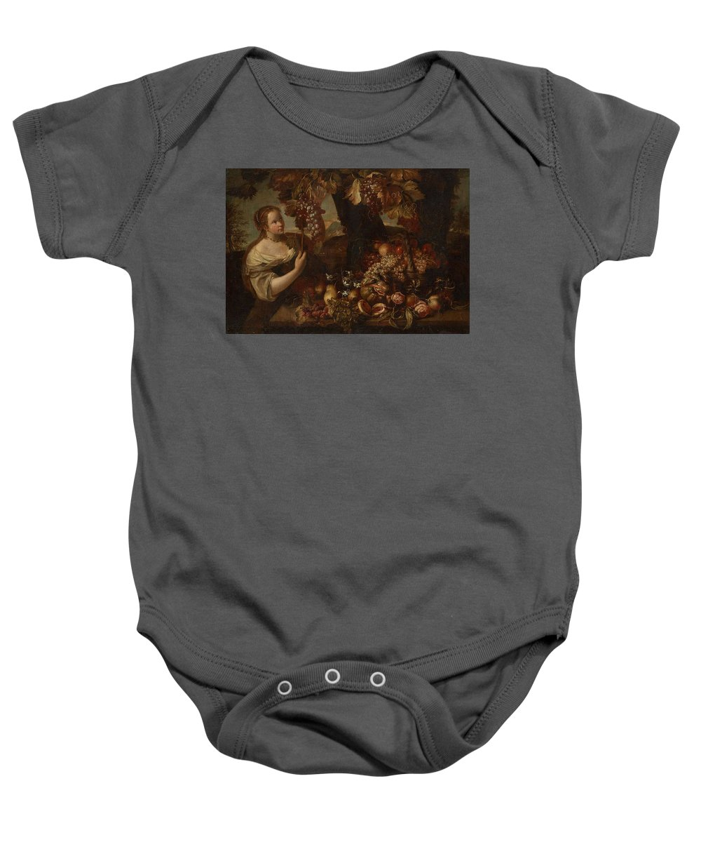 Girl Baby Onesie featuring the painting Abraham Brueghel After, Girl With Grapes And Still Life With Fruit. by Abraham Brueghel After