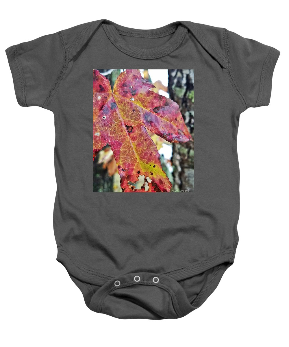 Abstract Autumn Leaf 2 Baby Onesie featuring the photograph Abstract Autumn Leaf 2 by Maria Urso