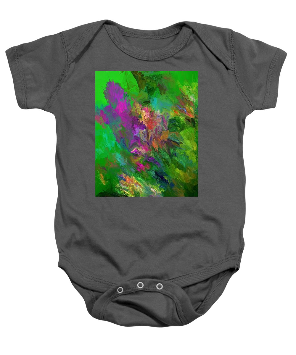 Fine Art Baby Onesie featuring the digital art Abstract Floral Fantasy 071912 by David Lane