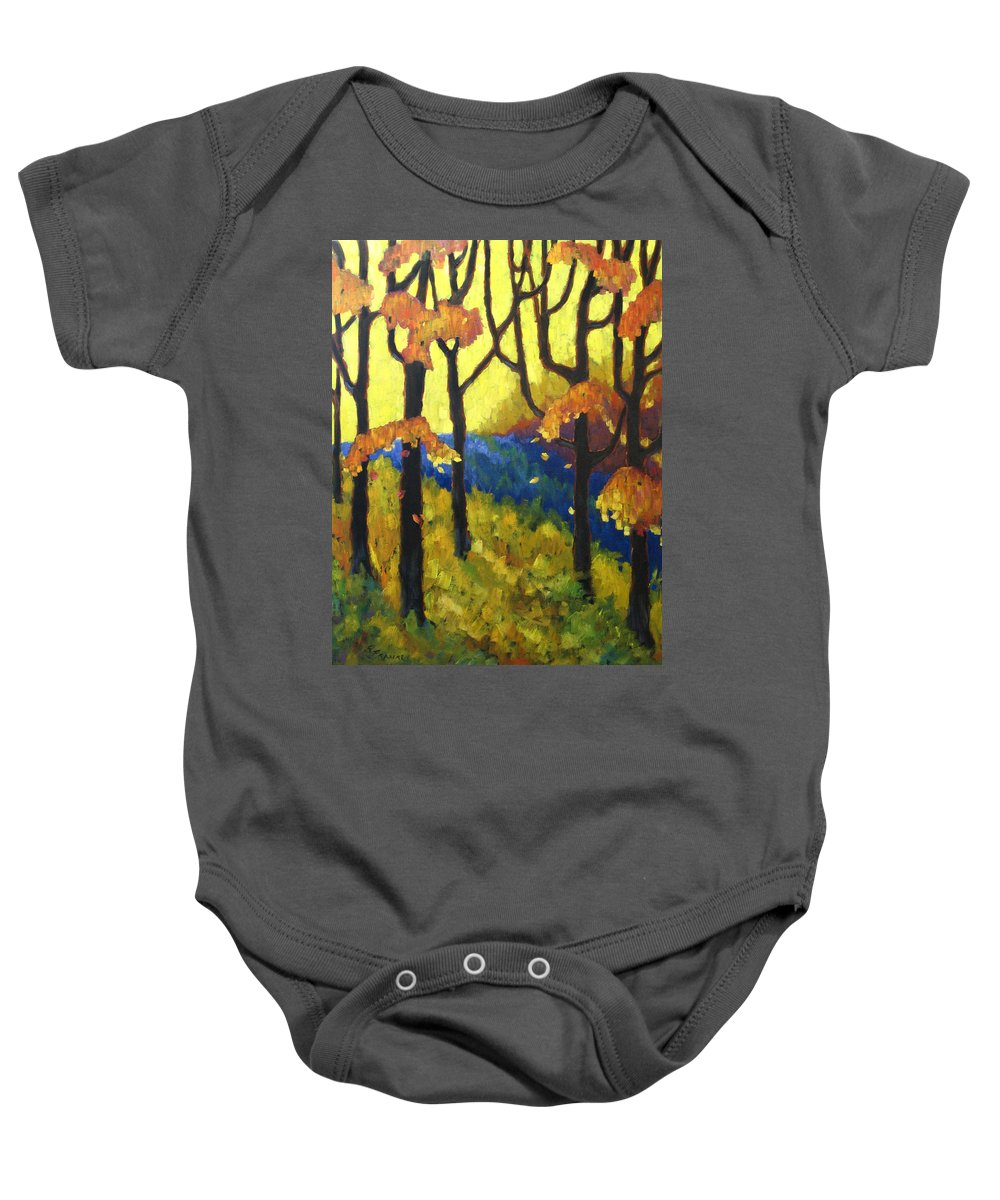 Art Baby Onesie featuring the painting Abstract Forest by Richard T Pranke
