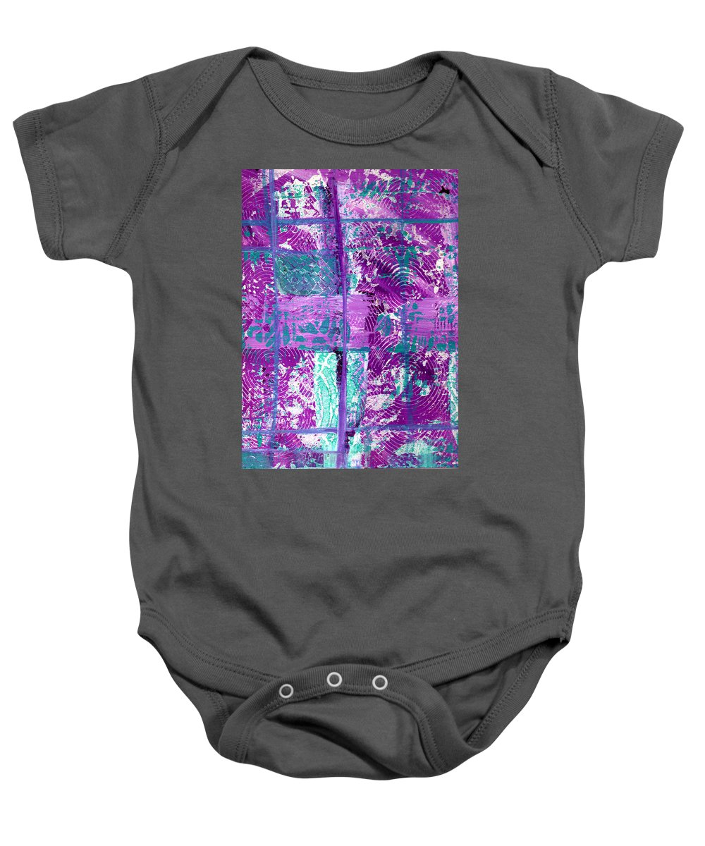 Abstract Baby Onesie featuring the painting Abstract In Purple And Teal by Wayne Potrafka