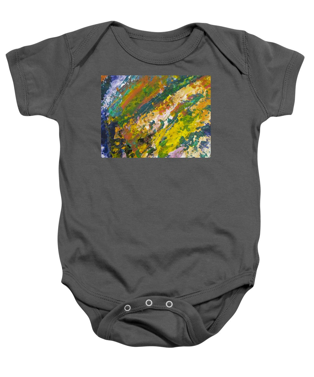 Abstract Baby Onesie featuring the painting Abstract Piano 3 by Anita Burgermeister