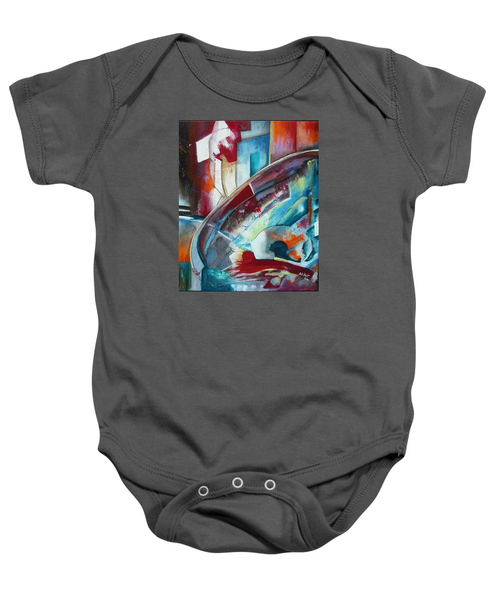 Baby Onesie featuring the painting Abstract Red And Blue A by Anthony Hurt