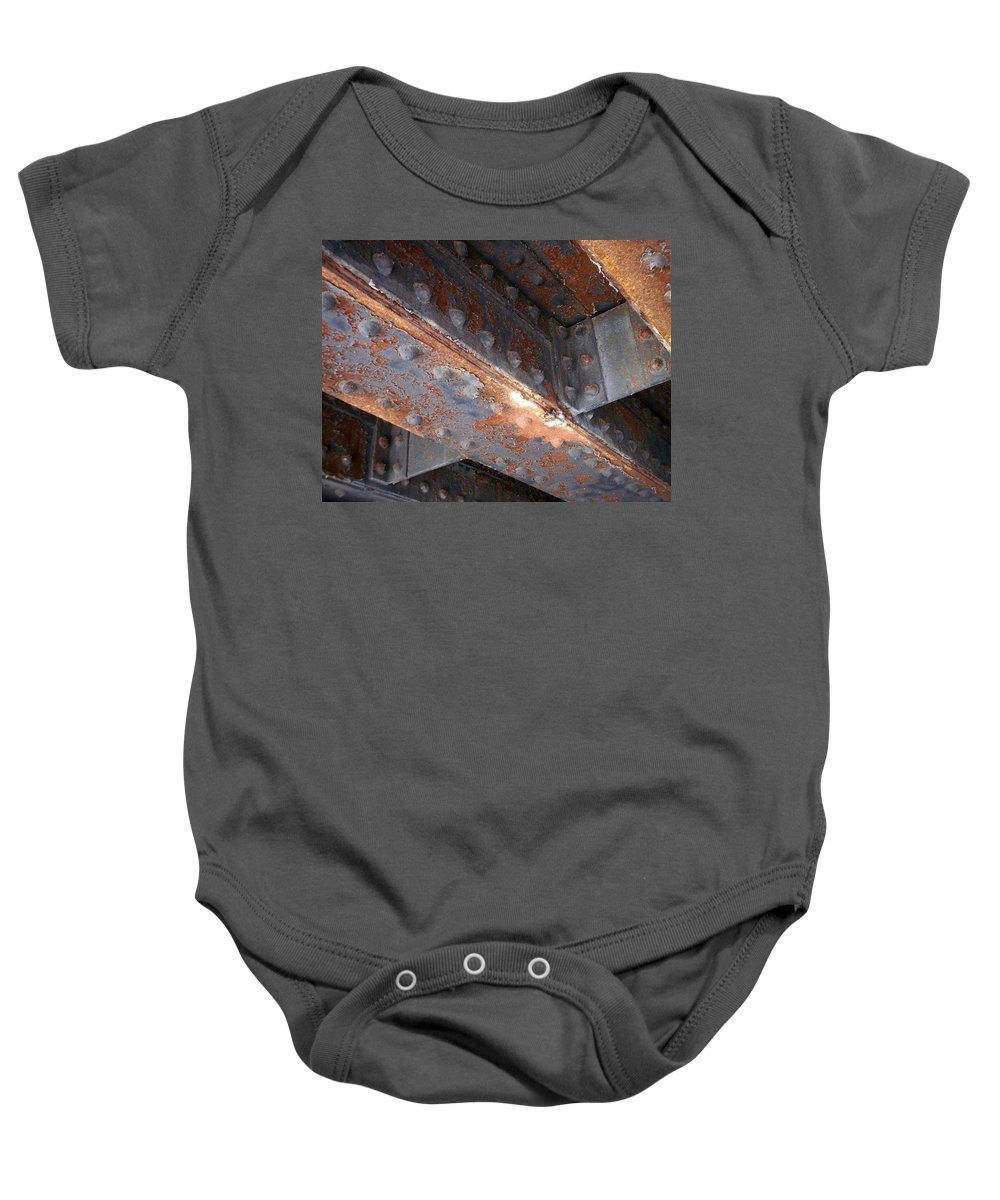 Urban Baby Onesie featuring the photograph Abstract Rust 3 by Anita Burgermeister