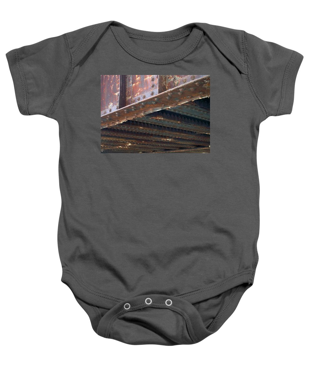 Urban Baby Onesie featuring the photograph Abstract Rust 4 by Anita Burgermeister