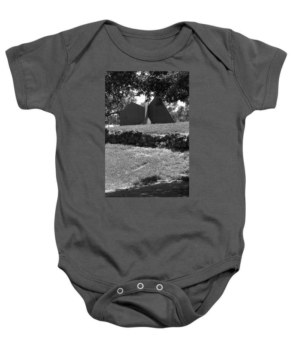 Black And White Baby Onesie featuring the photograph Abstract Sculpture by Rob Hans