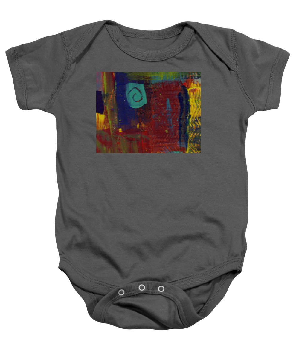 Abstract Baby Onesie featuring the painting Abstract With Teal Spiral by Wayne Potrafka