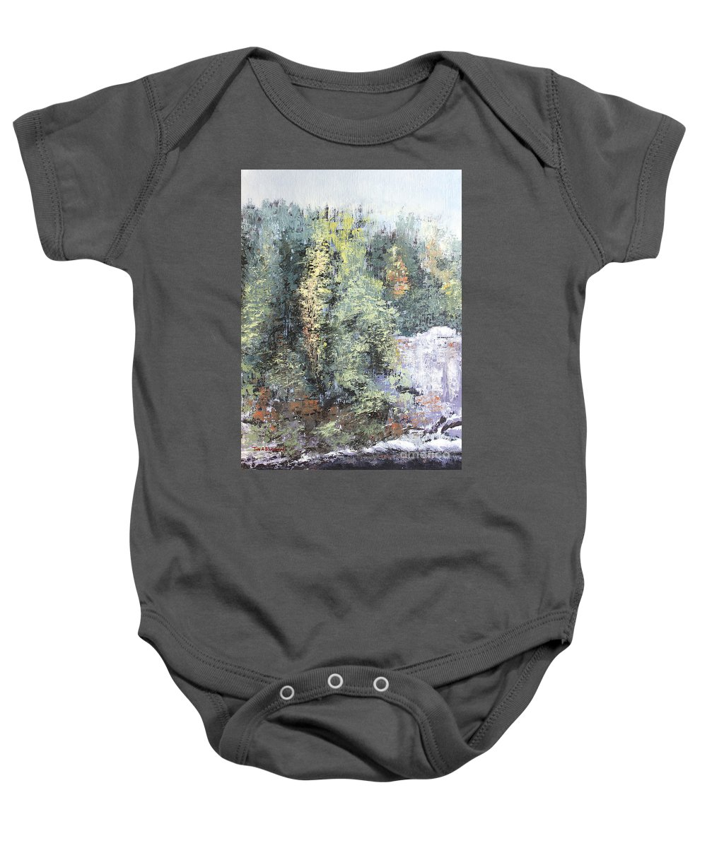 Landscape Baby Onesie featuring the painting Across The Ravine by Todd A Blanchard