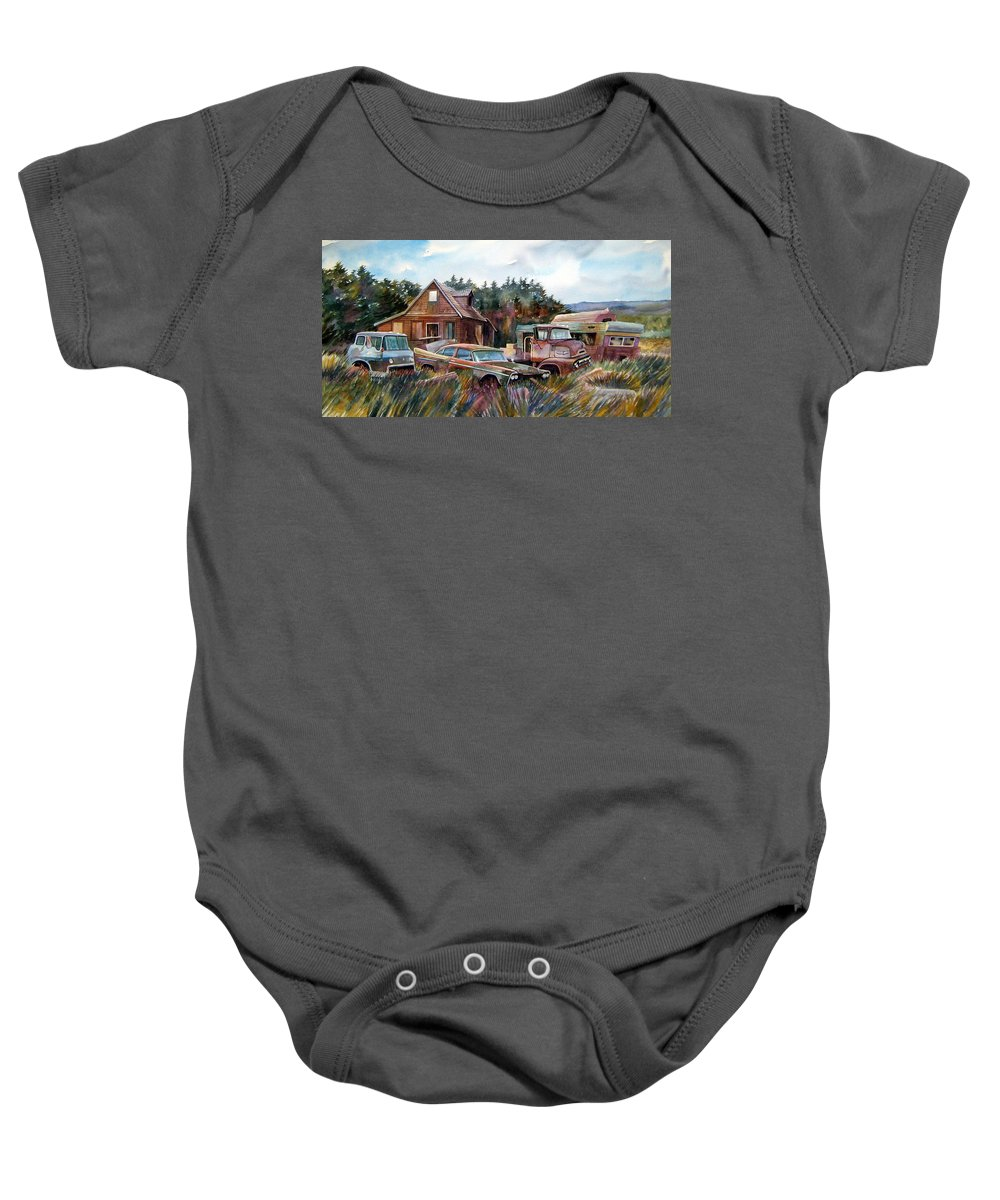 Cars Baby Onesie featuring the painting Across The Road And Gone by Ron Morrison