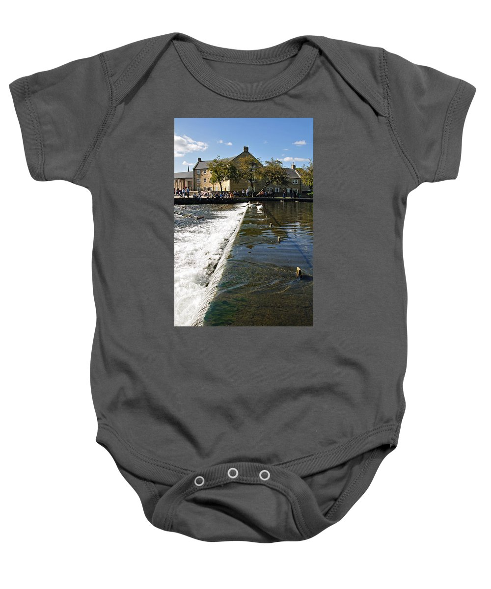 Bakewell Baby Onesie featuring the photograph Across The Weir At Bakewell by Rod Johnson