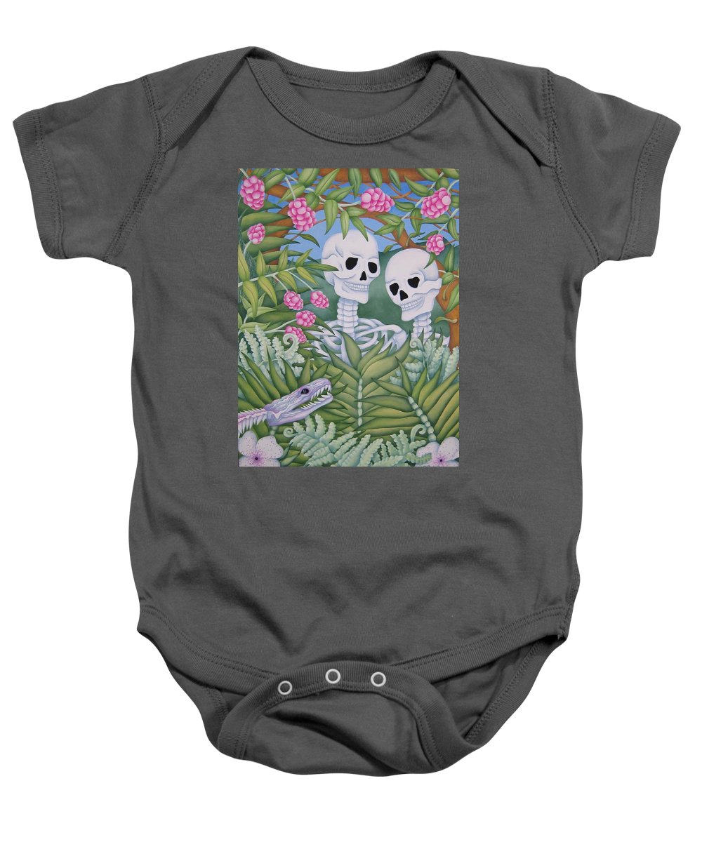 Calavera Baby Onesie featuring the painting Adam And Eve by Jeniffer Stapher-Thomas