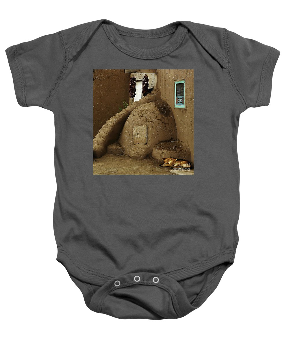 Oven Baby Onesie featuring the photograph Adobe Oven by Angela Wright