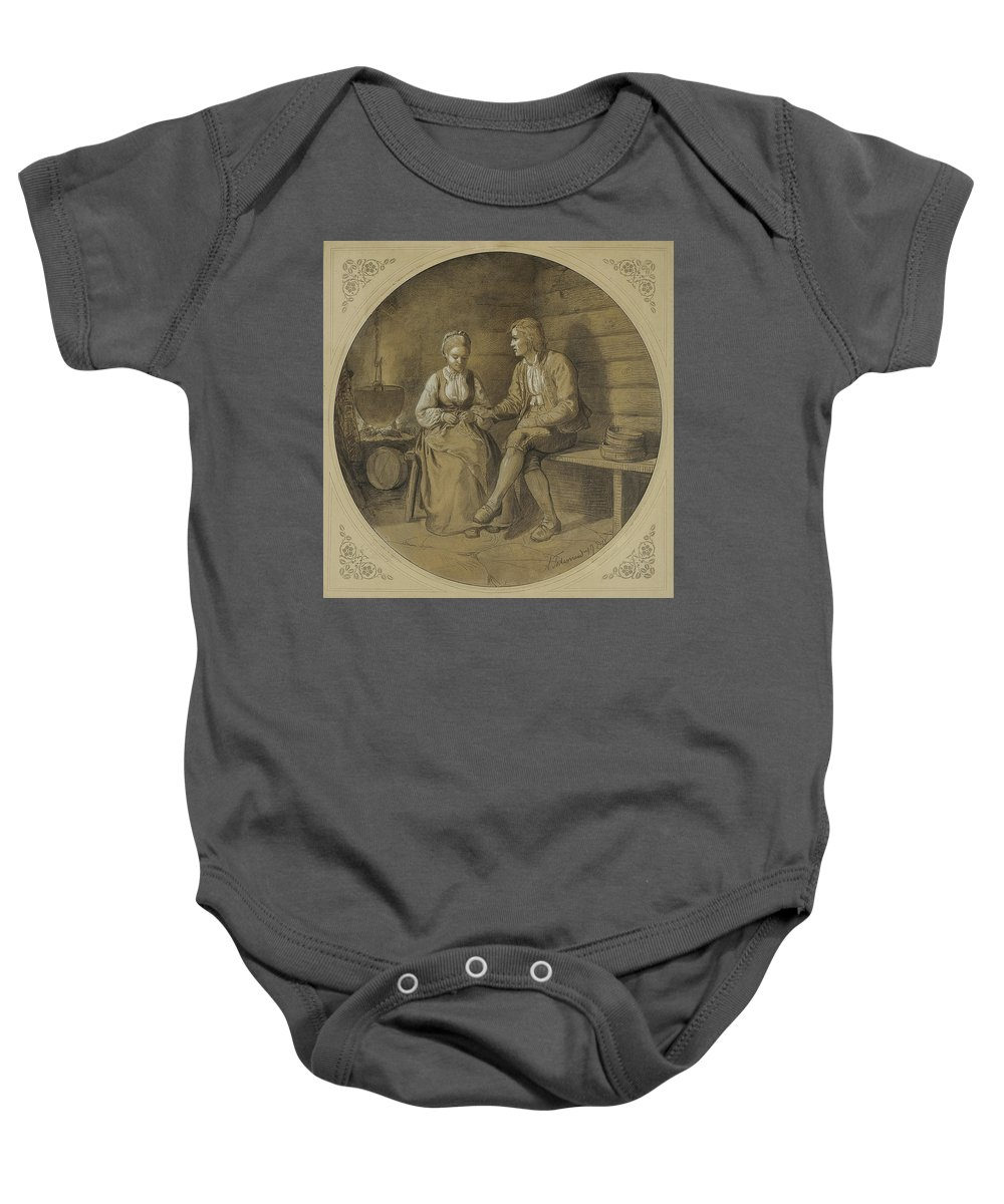Tidemand Baby Onesie featuring the painting Adolph by MotionAge Designs