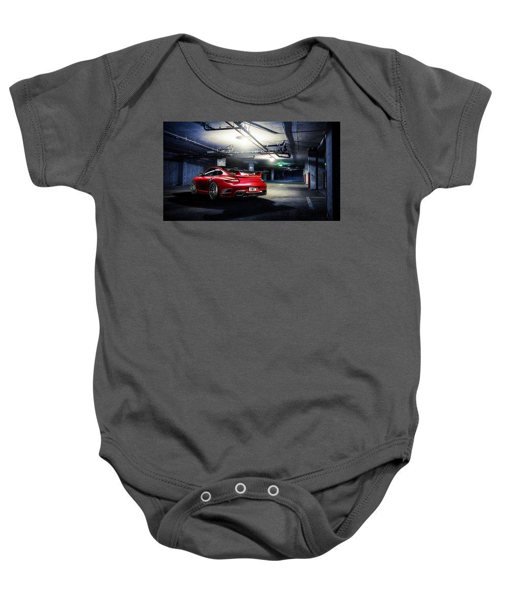 Baby Onesie featuring the digital art Adv1 Red Porsche 2 by Alice Kent