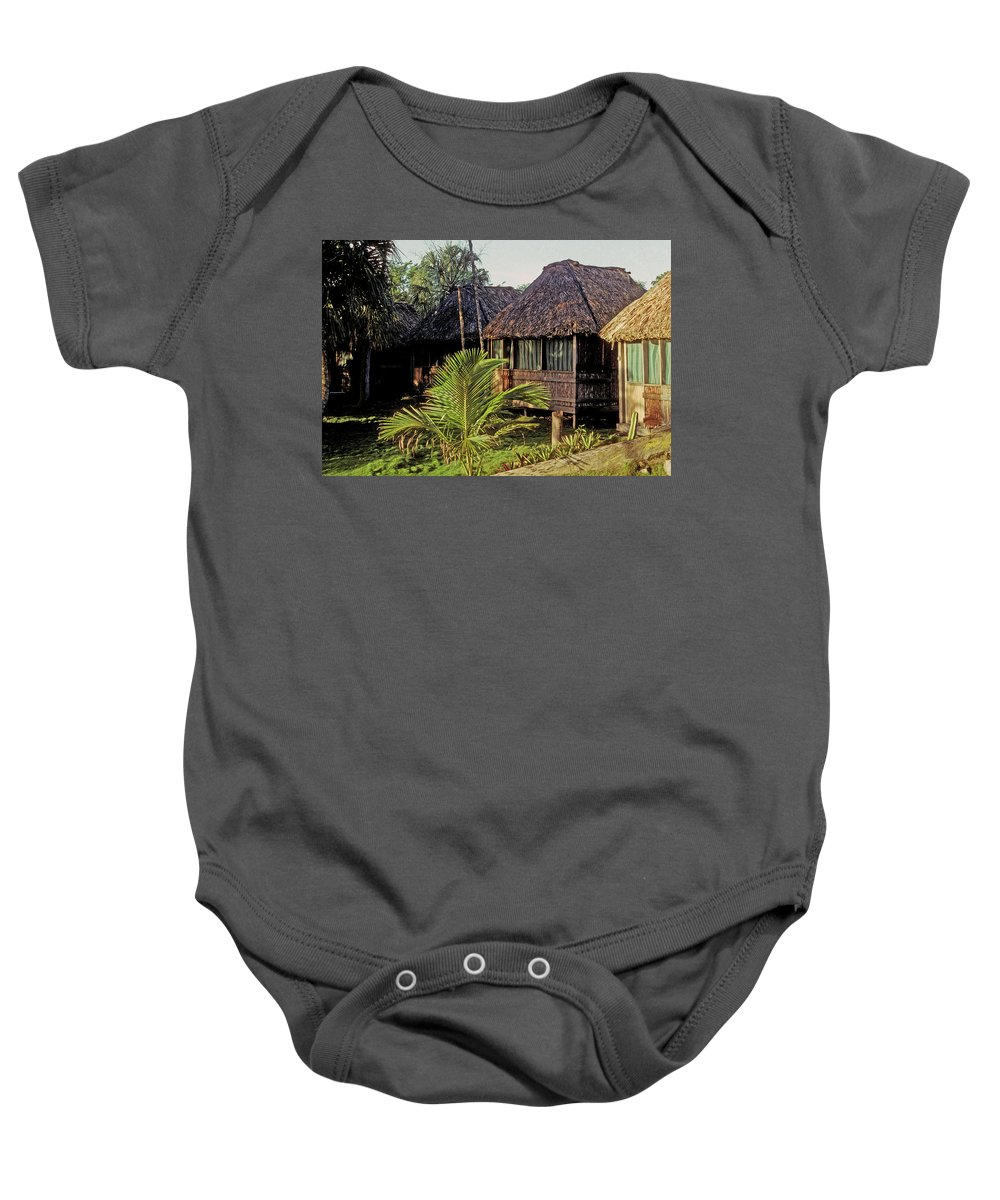 Belize Baby Onesie featuring the photograph Adventure Inn by Gary Wonning