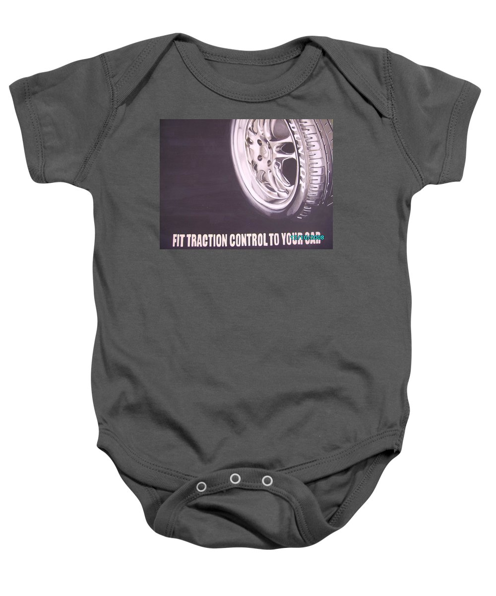 Wheel Baby Onesie featuring the digital art Adverts On Tyres by Olaoluwa Smith