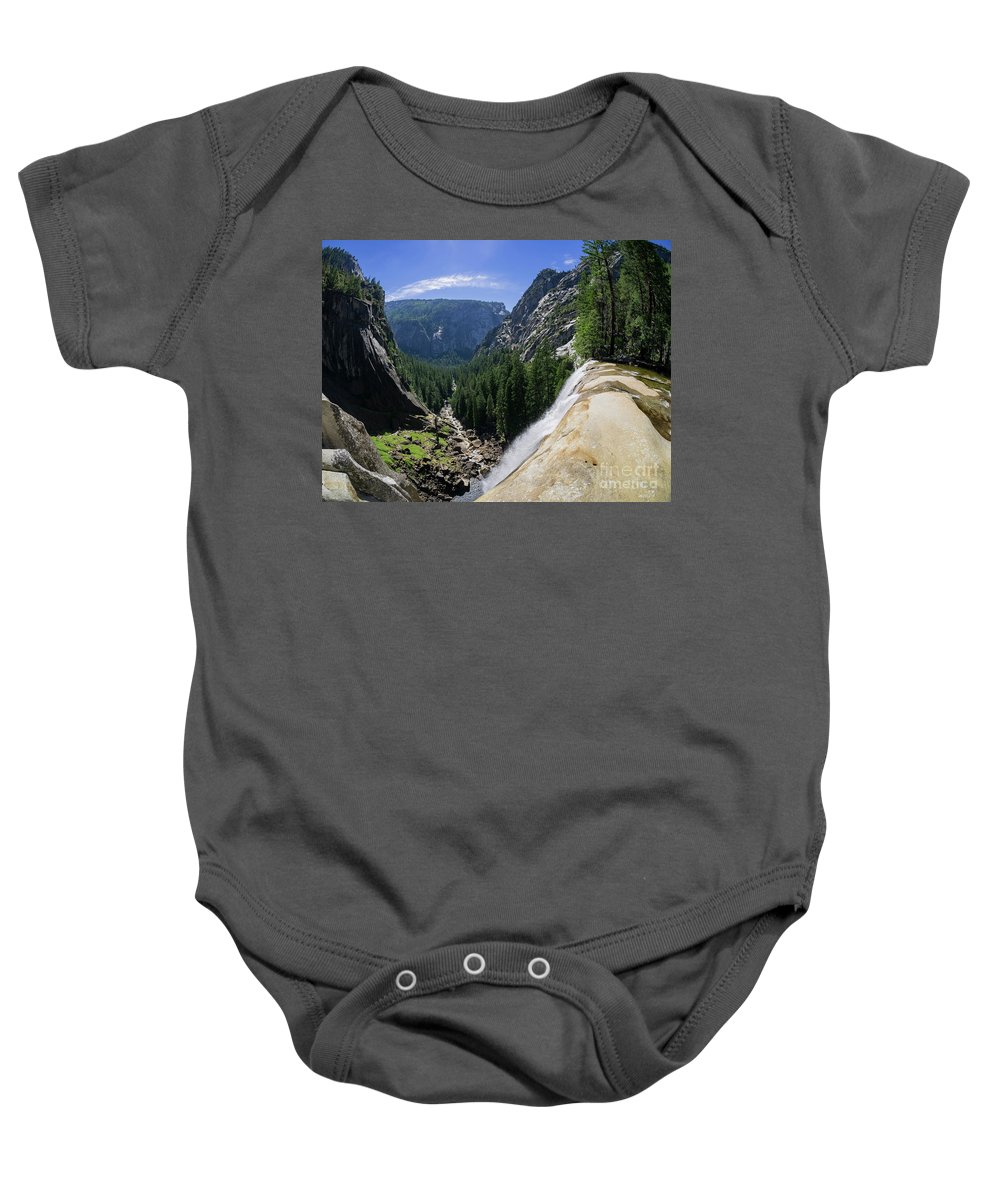 Nps Baby Onesie featuring the photograph Aerial View From The Top Of The Upper Yosemite Fall by Chon Kit Leong