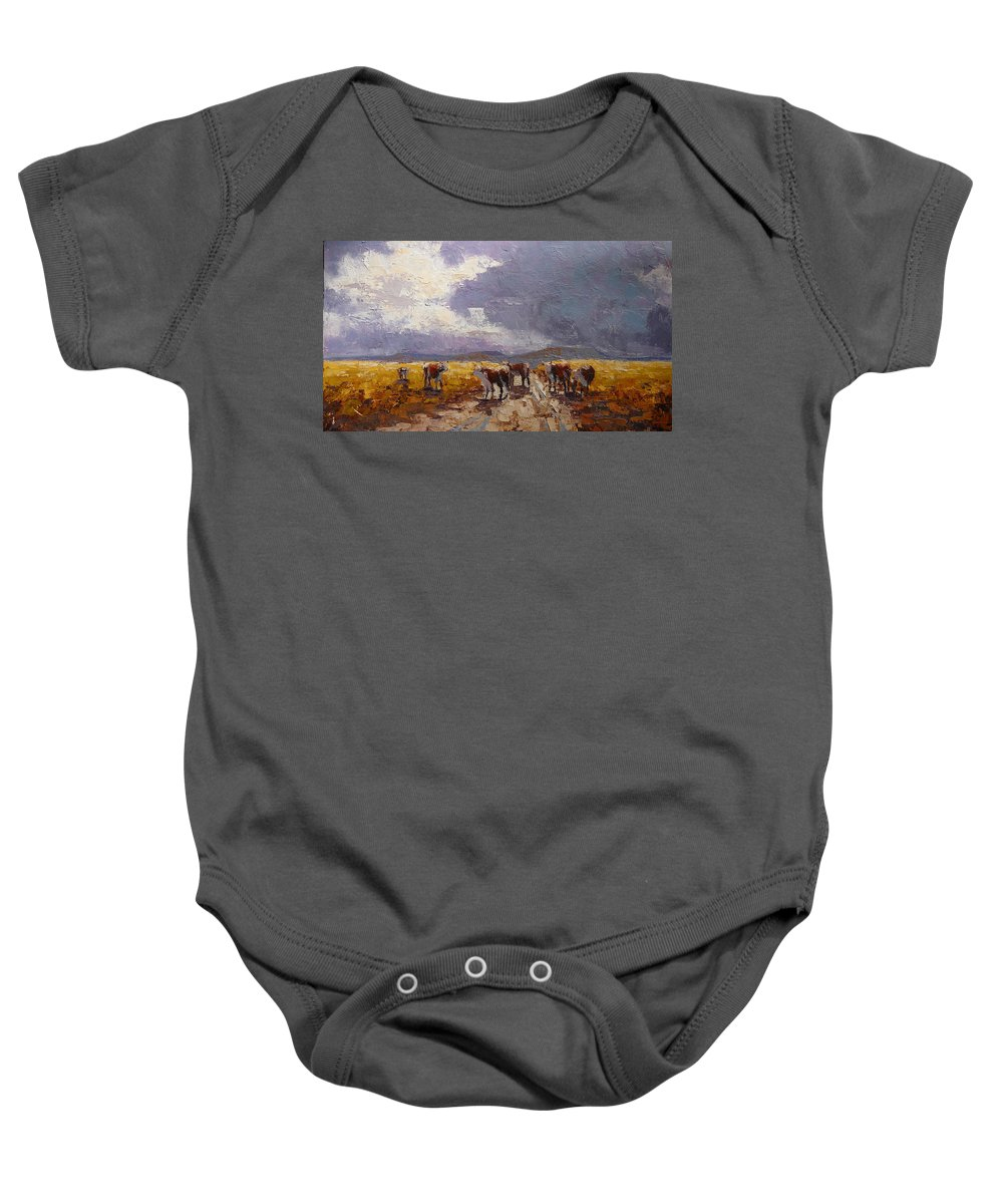 Landscape Baby Onesie featuring the painting African Cattel by Yvonne Ankerman
