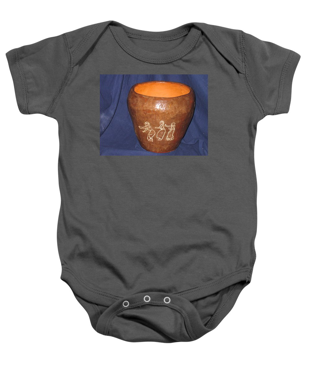 Jesus Baby Onesie featuring the ceramic art African Ladies Lead The Dance - View One by Gloria Ssali