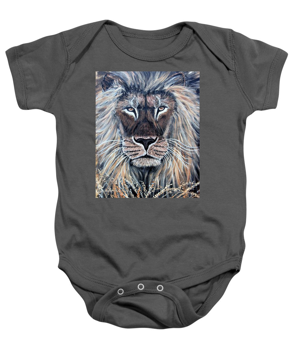 Lion Baby Onesie featuring the painting African Lion by Nick Gustafson