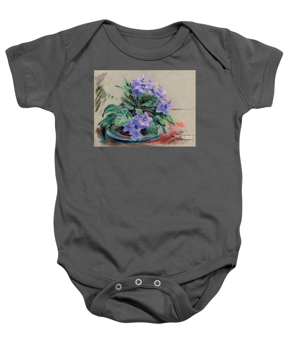 African Violets Baby Onesie featuring the drawing African Violet by Donald Maier