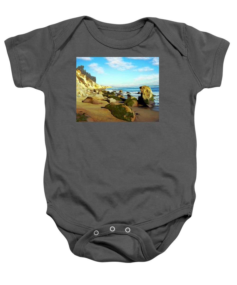 Ocean Baby Onesie featuring the photograph After The Fog Gaviota by Kurt Van Wagner